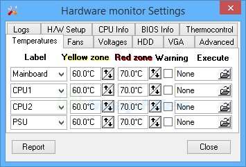 screenshot of Hardware Sensors Monitor