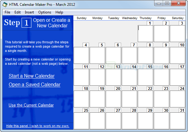screen capture of HTML Calendar Maker Pro