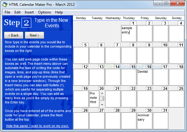 screenshot of HTML Calendar Maker Pro