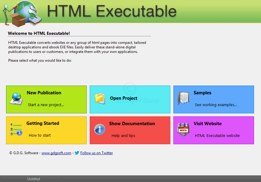 screen capture of HTML Executable