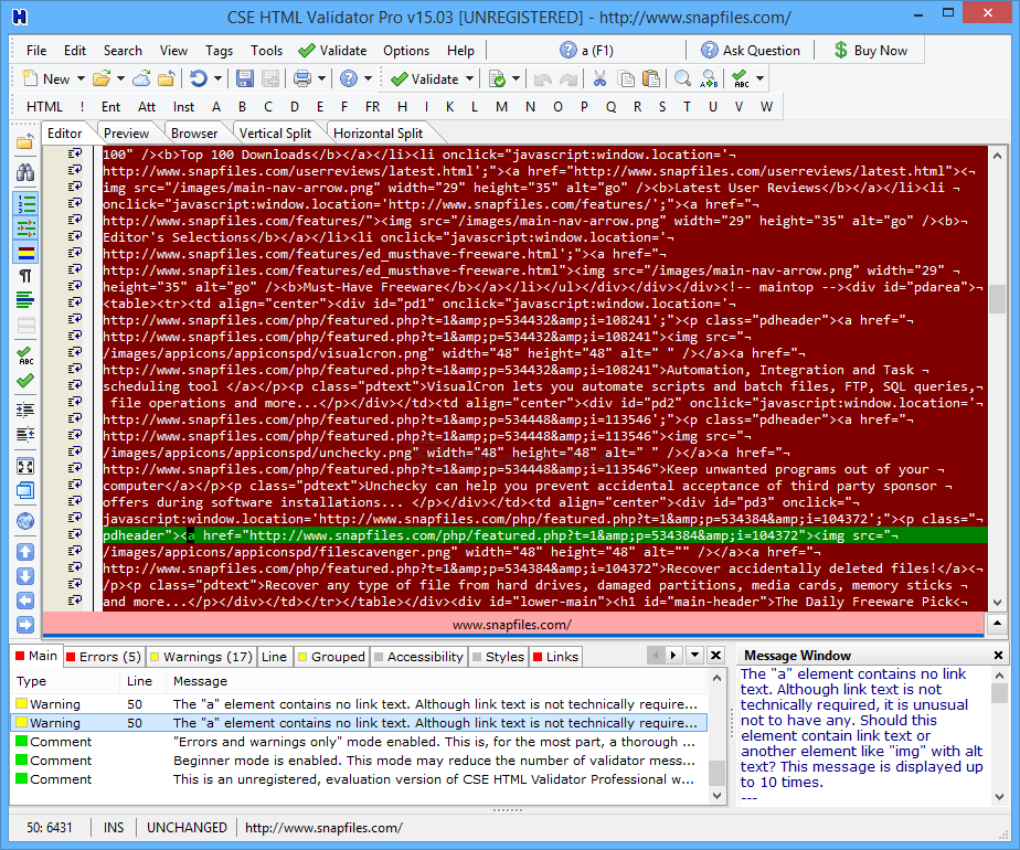 screen capture of CSE HTML Validator Professional