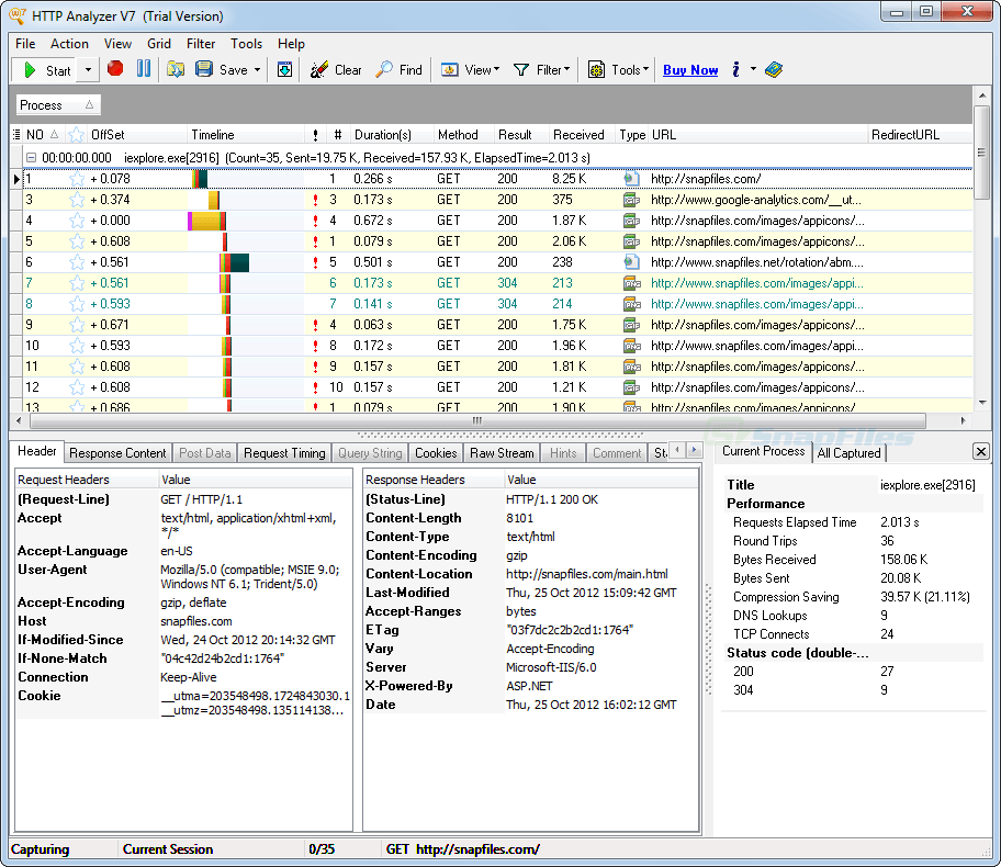 screen capture of HTTP Analyzer