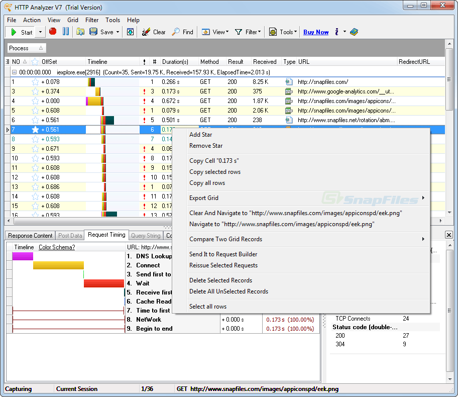 screenshot of HTTP Analyzer