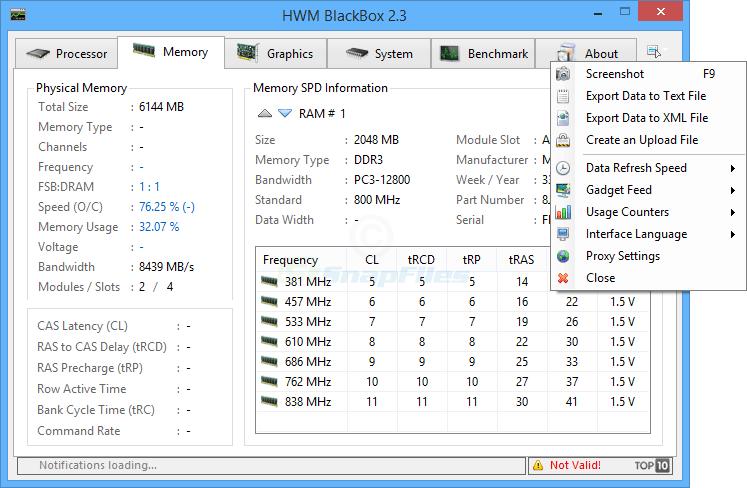 screenshot of HWM BlackBox