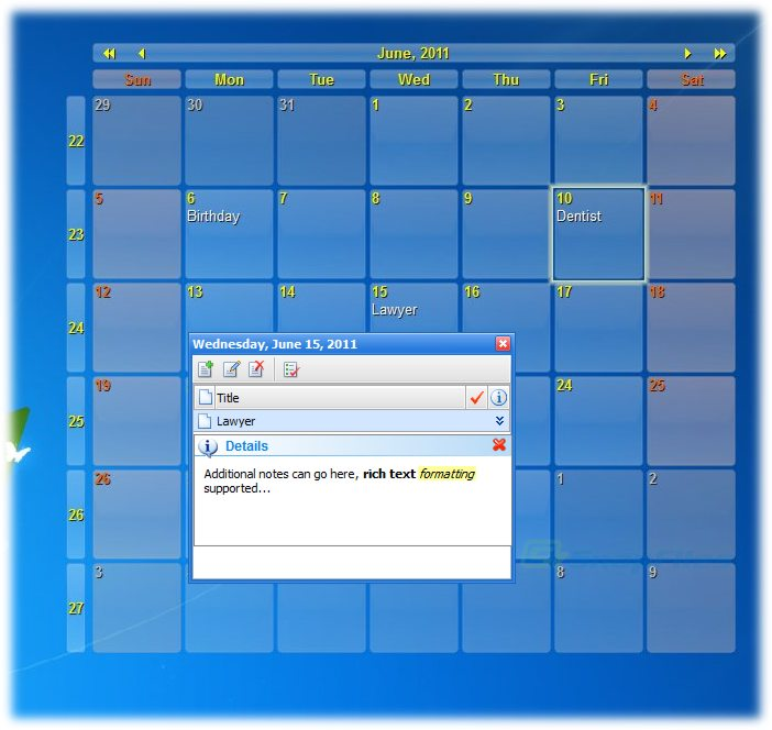 screenshot of Interactive Calendar