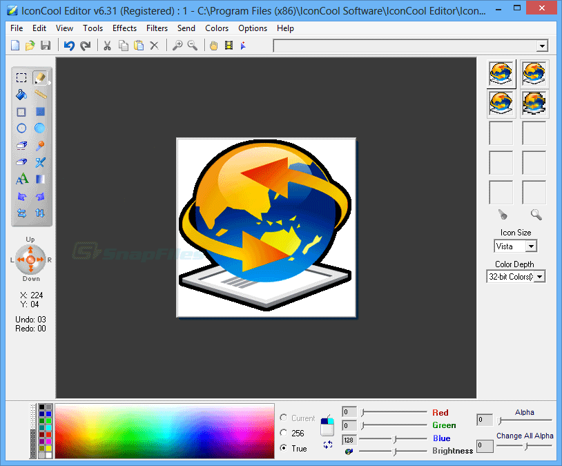 screen capture of IconCool Editor
