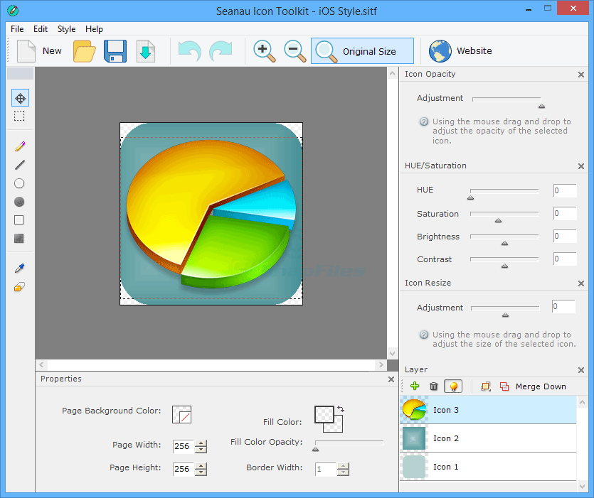 screen capture of Seanau Icon Toolkit