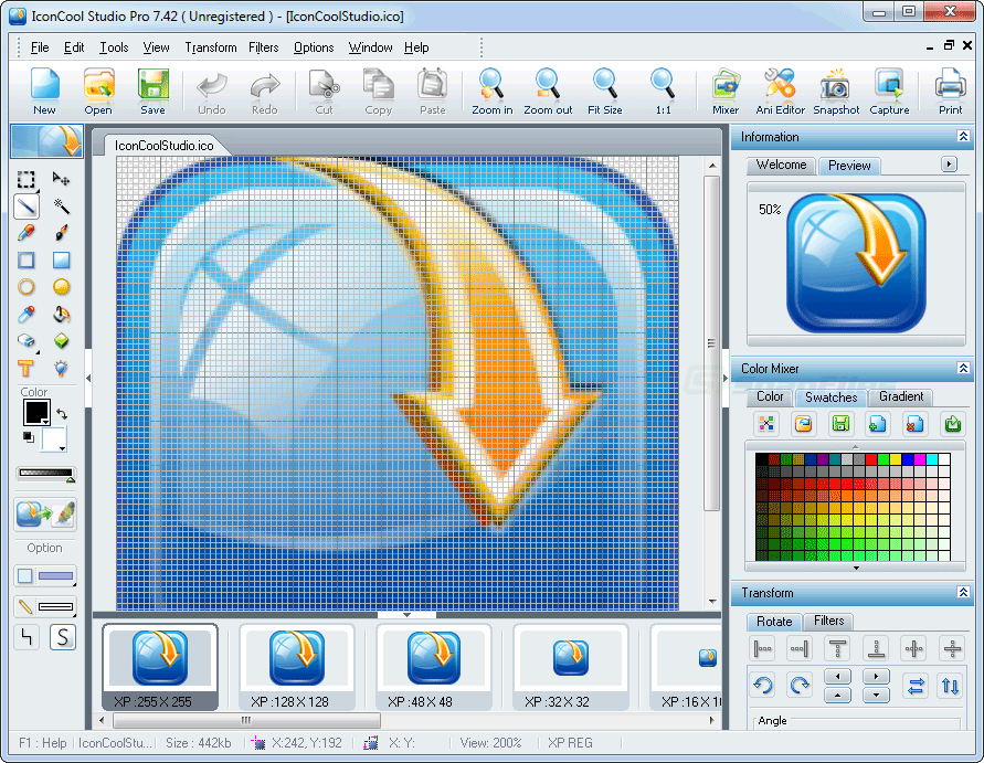 screen capture of IconCool Studio Pro