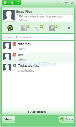 screen capture of ICQ