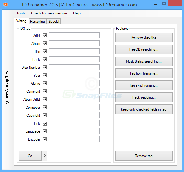 screen capture of ID3 Renamer