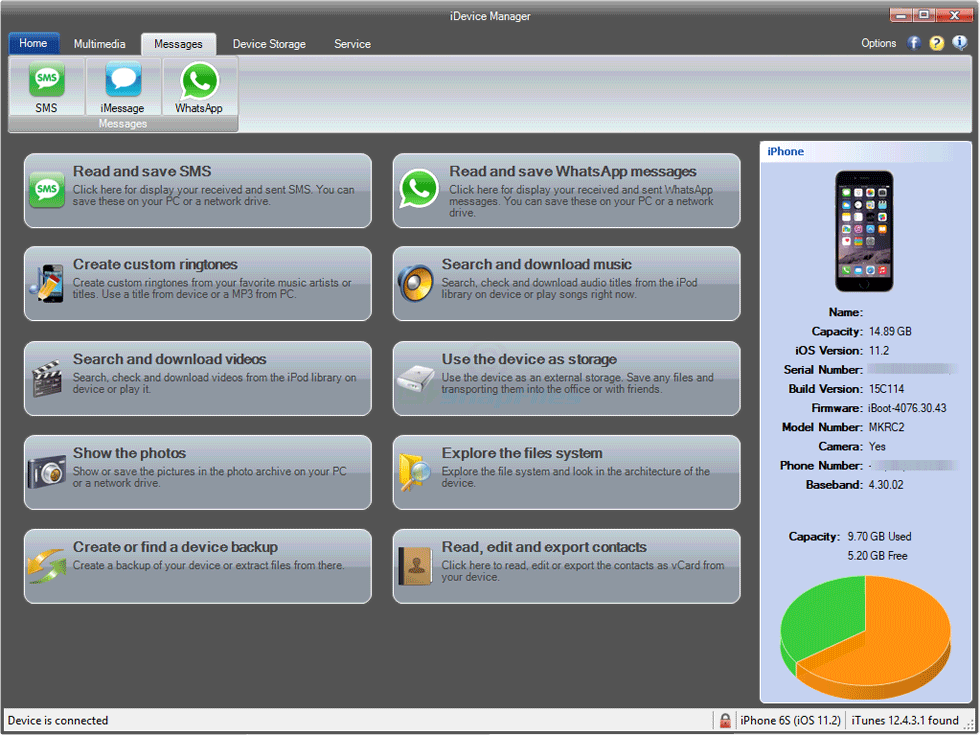 screen capture of iDevice Manager