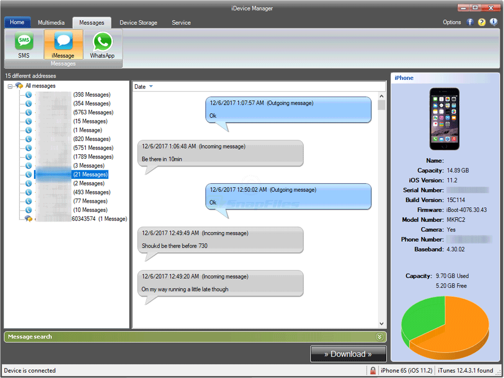 screenshot of iDevice Manager