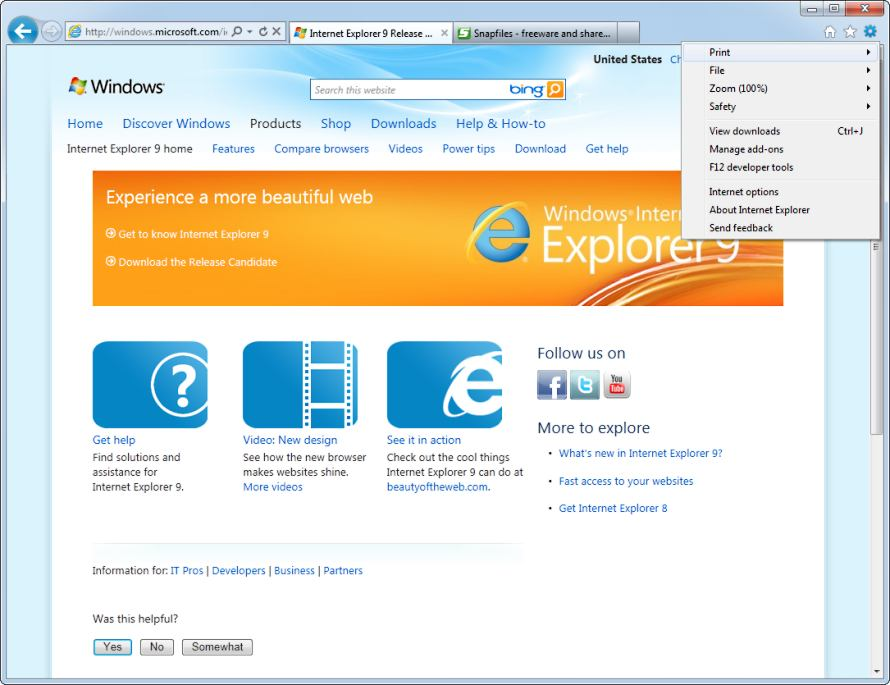 screen capture of Internet Explorer 9  (Win7)