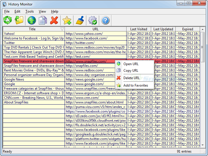 screen capture of IE History Monitor