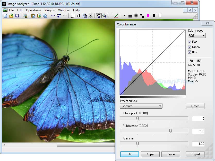 screen capture of Image Analyzer