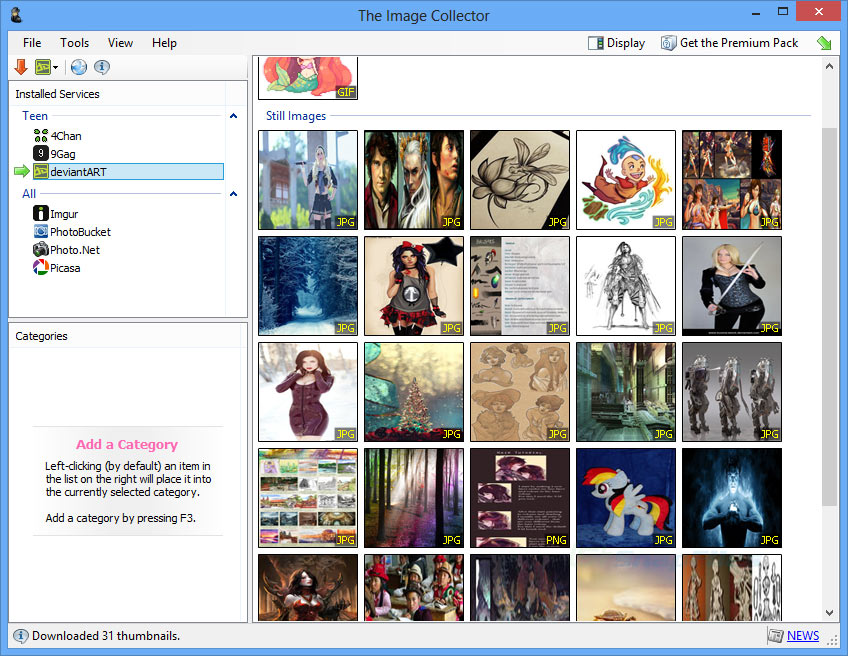 screen capture of The Image Collector
