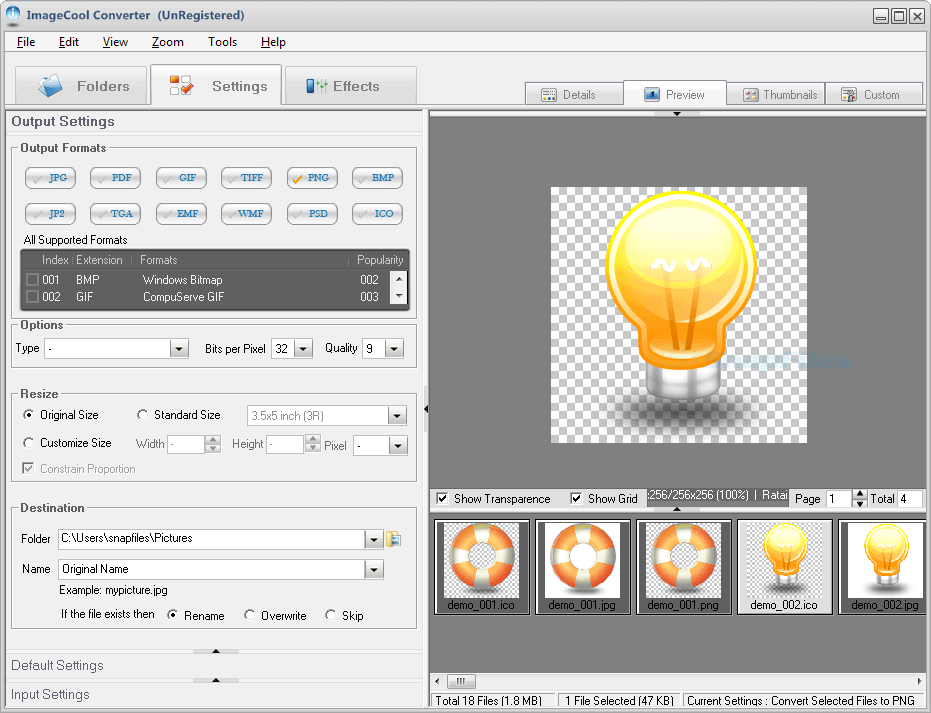 screen capture of Graphics Converter Pro
