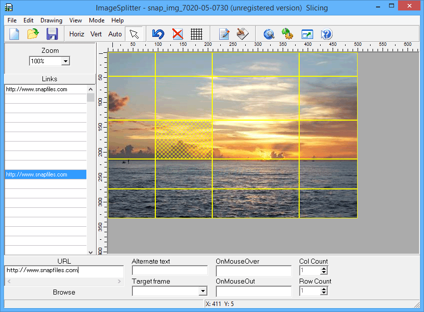 screen capture of HTML Image Splitter