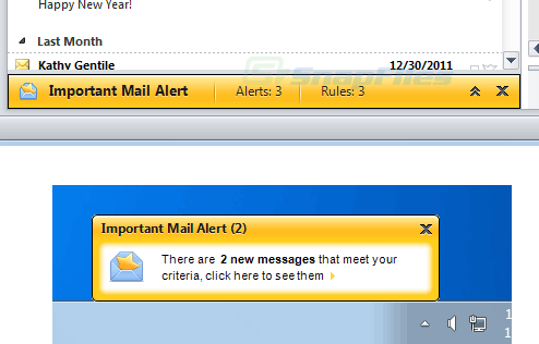 screenshot of Important Mail Alert for Outlook