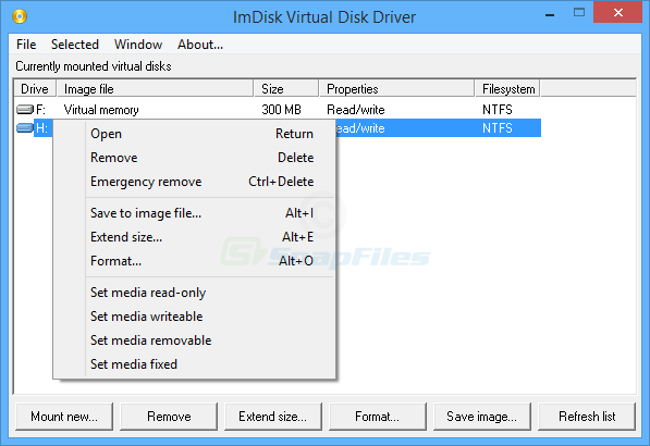 screen capture of ImDisk Virtual Disk Driver