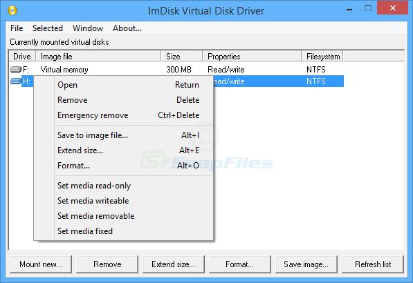 screen capture of ImDisk Virtual Disk Driver