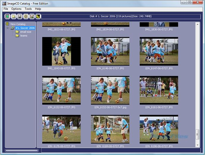 screen capture of ImageCD Catalog