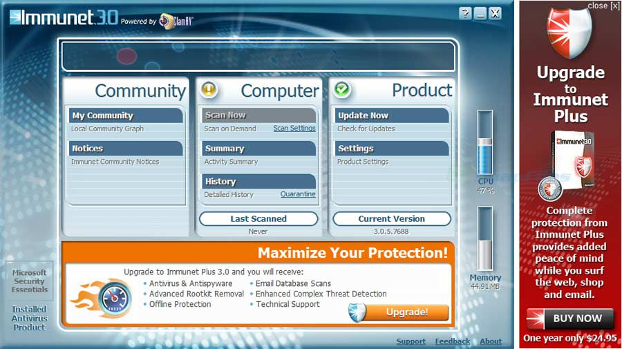 screen capture of Immunet Protect (Free version)