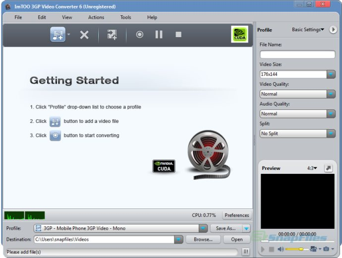 screen capture of ImTOO 3GP Video Converter