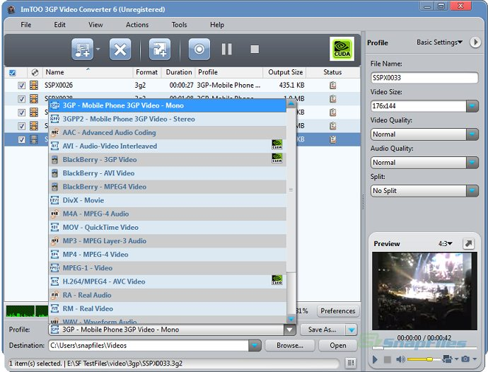 screenshot of ImTOO 3GP Video Converter