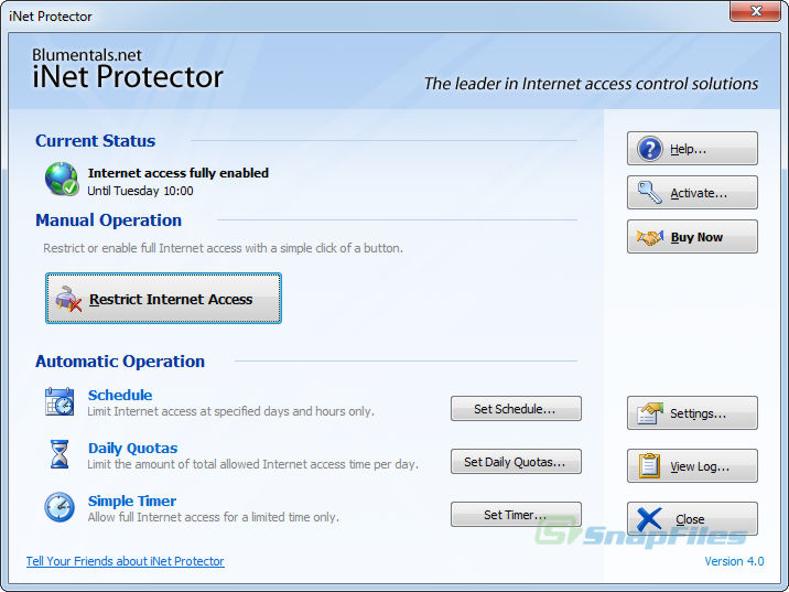 screen capture of iNet Protector
