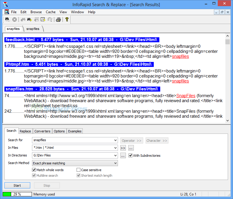screen capture of InfoRapid Search and Replace