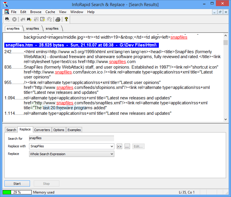 screenshot of InfoRapid Search and Replace