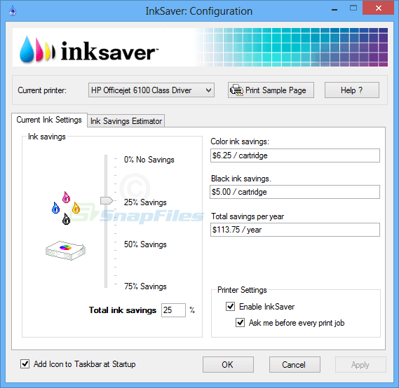 screen capture of InkSaver