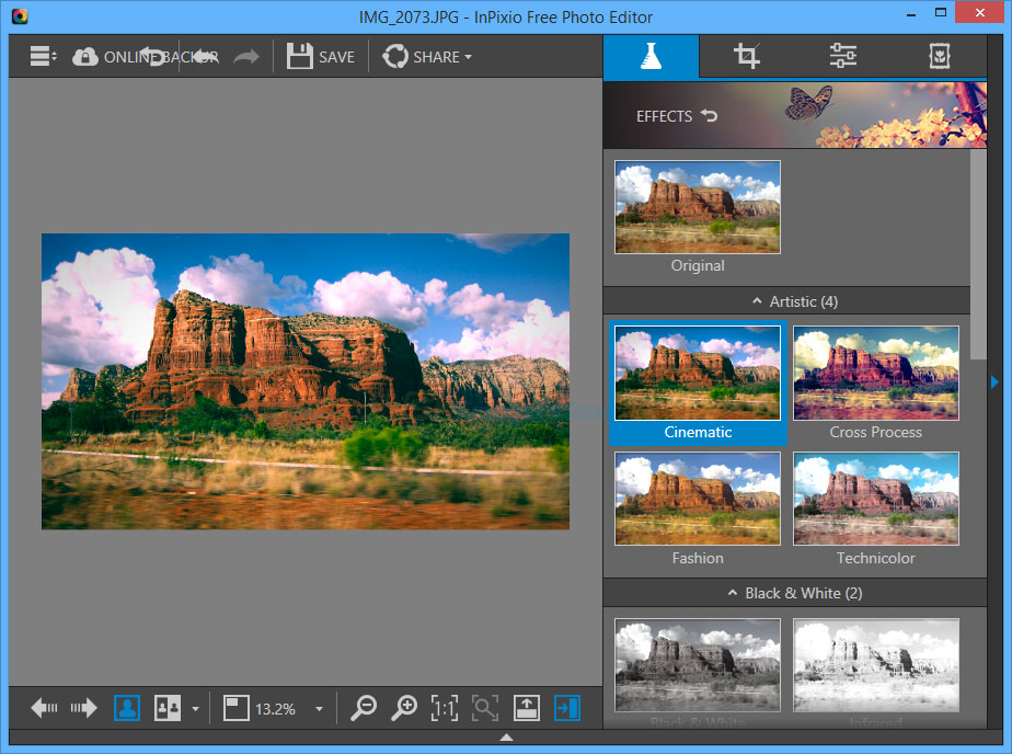 screen capture of Inpixio Free Photo Editor