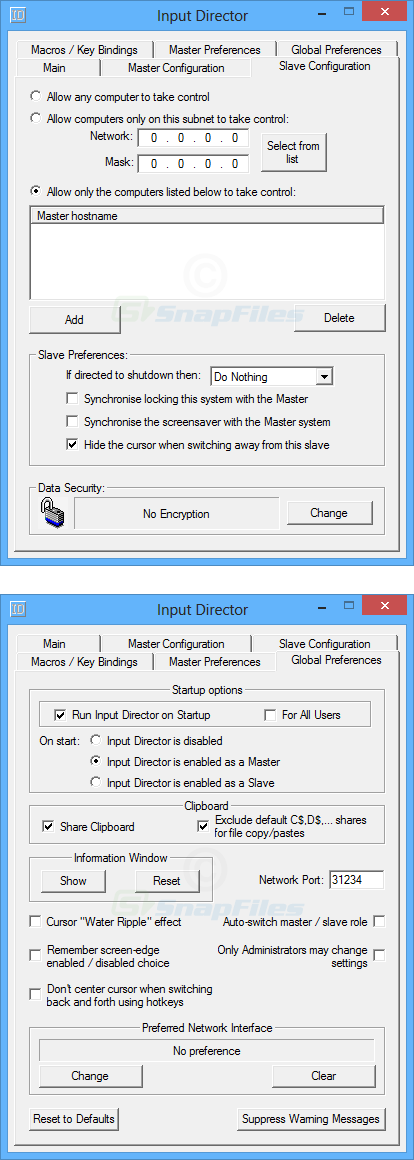 screenshot of Input Director