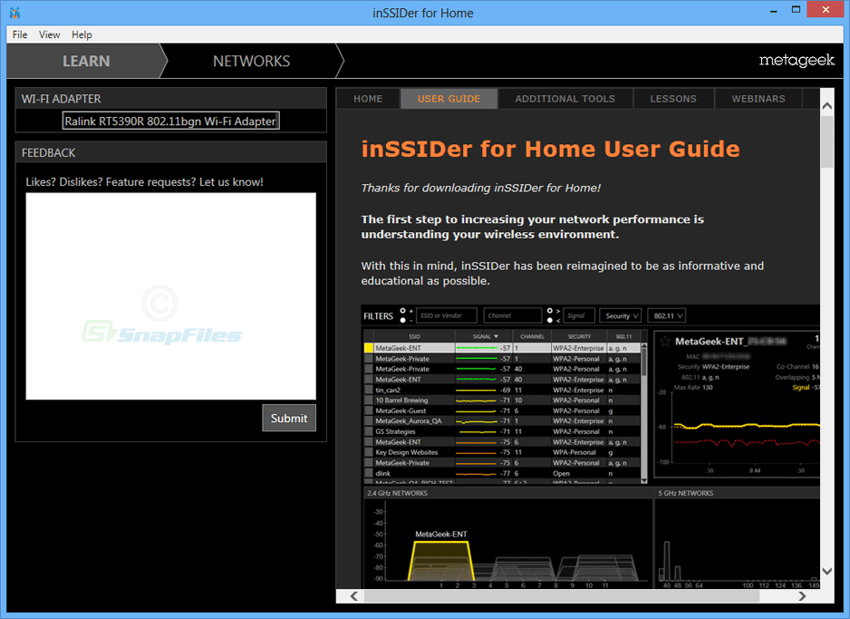 screenshot of inSSIDer