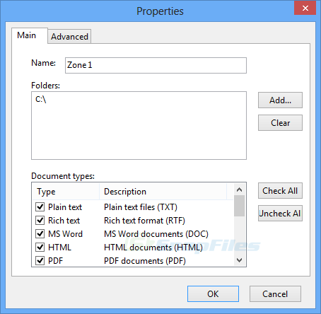 screenshot of Instant Document Search