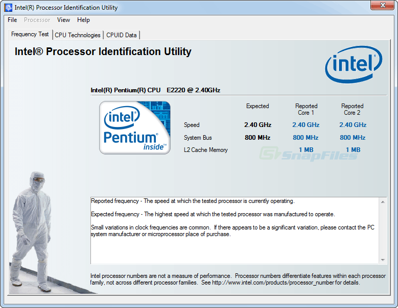 screen capture of Intel Processor Identification Utility