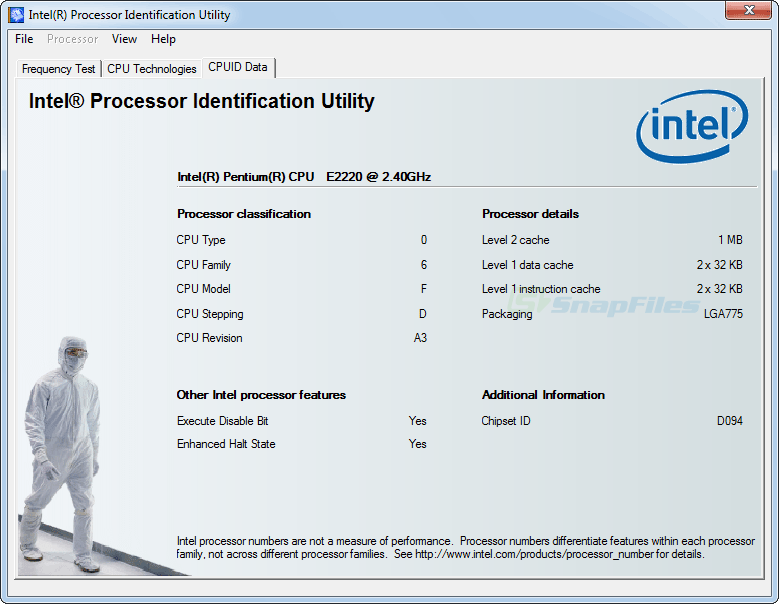screenshot of Intel Processor Identification Utility