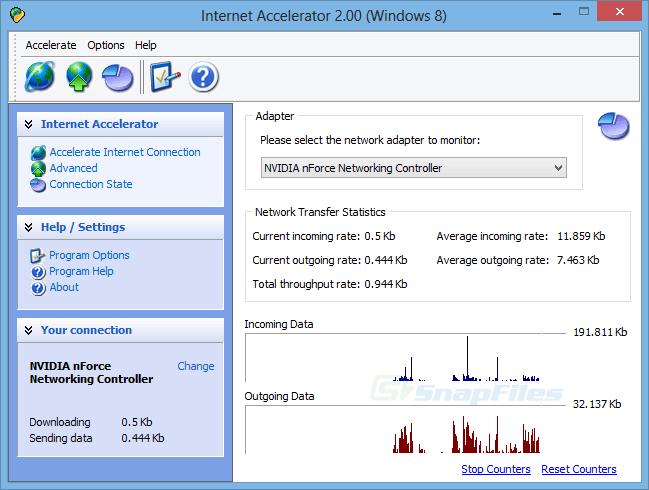 screenshot of Pointstone Internet Accelerator