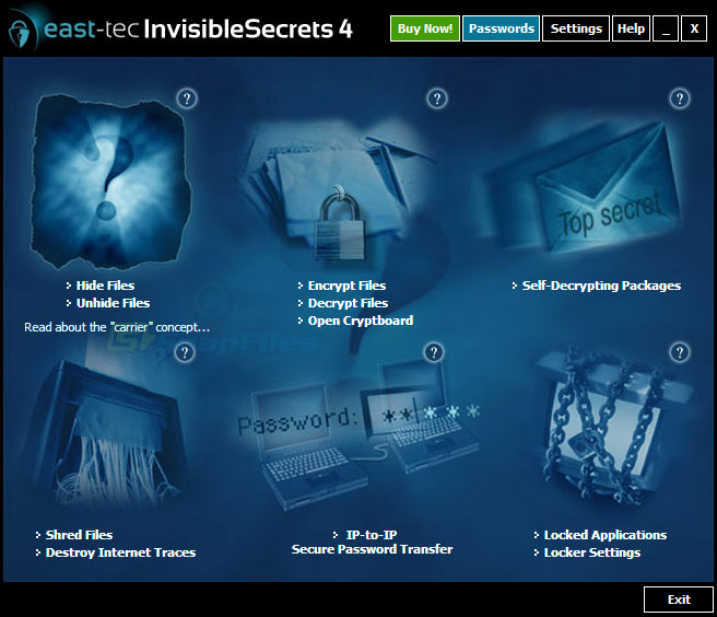 screen capture of east-tec InvisibleSecrets