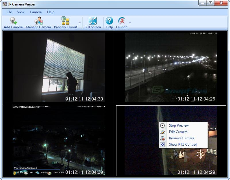 screen capture of IP Camera Viewer