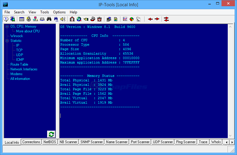 screen capture of IP-Tools Lite