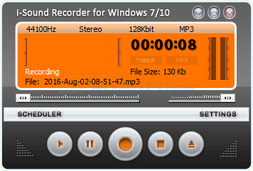screen capture of i-Sound WMA MP3 Recorder Pro