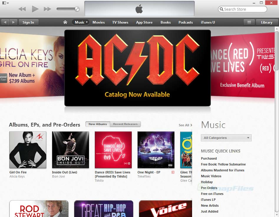 screen capture of iTunes
