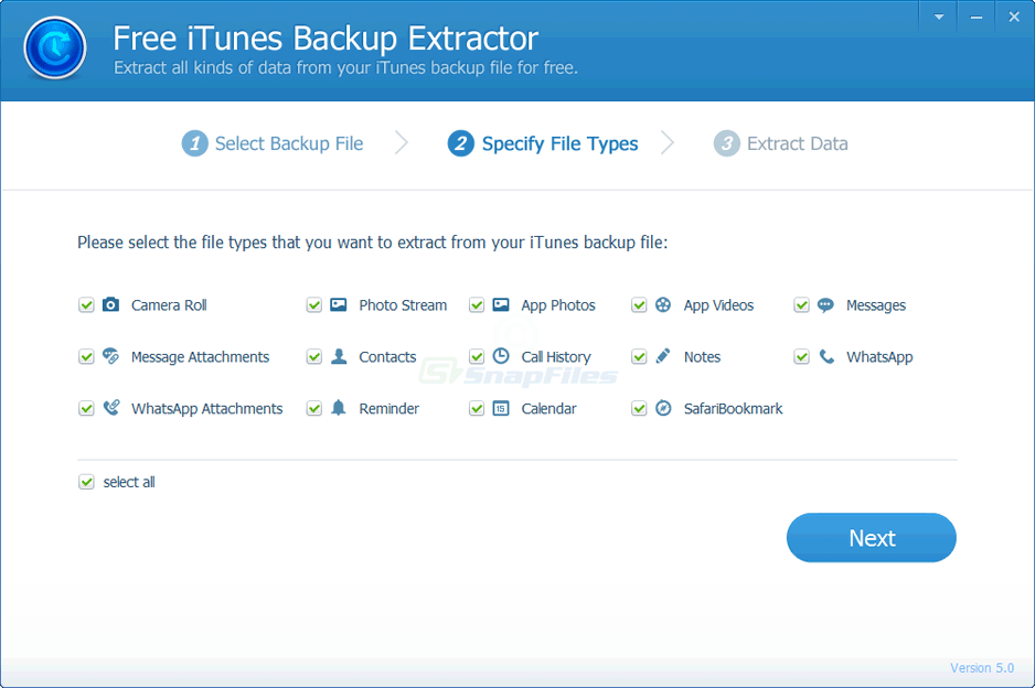 screenshot of iTunes Backup Extractor