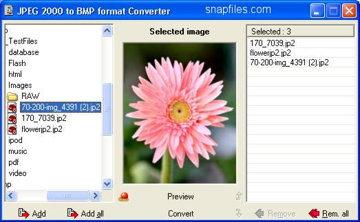 screen capture of J2K Converter
