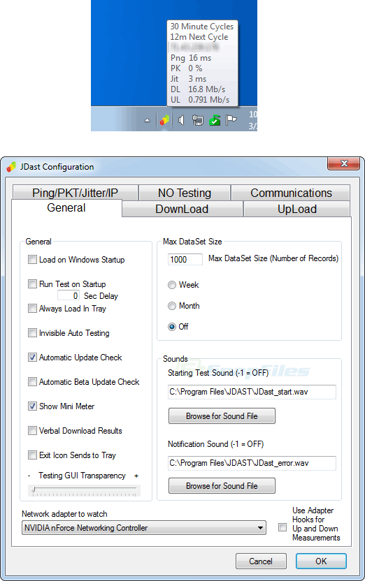 screenshot of JD Auto Speed Tester