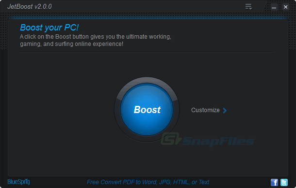 screen capture of JetBoost