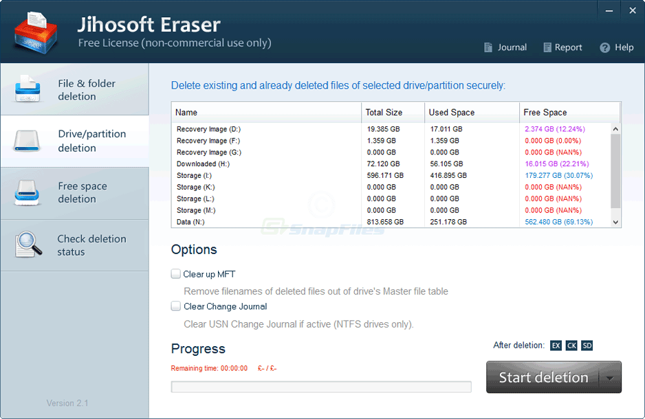 screenshot of Jihosoft Free Eraser